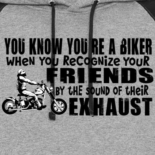 Bikers Know Friends By Exhaust - Unisex Colorblock Hoodie