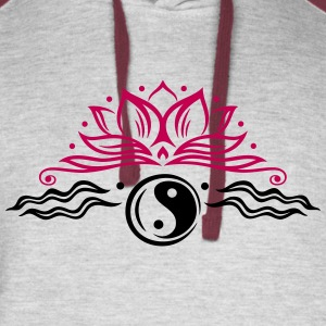Large lotus flower with yin and yang symbol. - Colorblock Hoodie