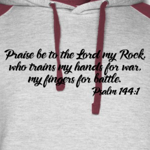 Psalm 144:1 Tee (Black Text) - Colorblock Hoodie