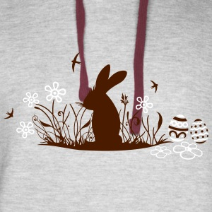 Easter bunny with Easter Eggs and flowers - Colorblock Hoodie