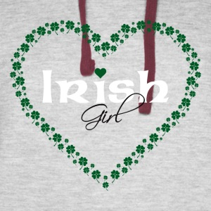 Irish Girl in Heart Made of Clovers - Colorblock Hoodie