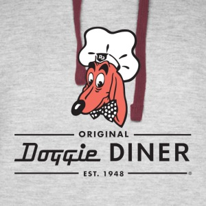 Doggie Diner Logo 1 with NO back color - Colorblock Hoodie