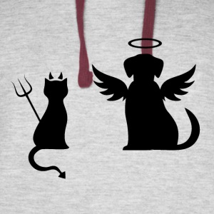 Devilish Cat And Angelic Dog - Colorblock Hoodie