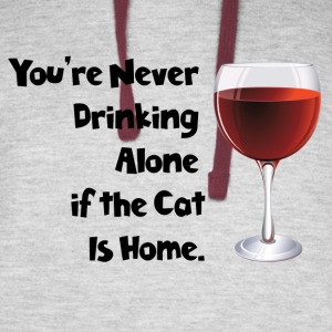drinking alone cat, is not alone with the cat - Colorblock Hoodie