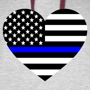 Thin blue line Heart Police Support - Colorblock Hoodie