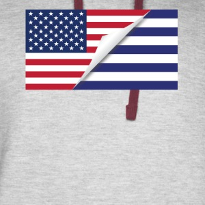 Half American Half Greek Flag - Colorblock Hoodie