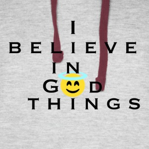 I Believe In God Things Smiley Design - Colorblock Hoodie