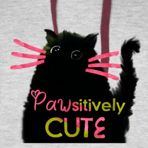 Pawsitively Cute Black Cat - Colorblock Hoodie