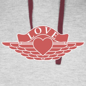 Love - Wings Design (Red/White) - Colorblock Hoodie