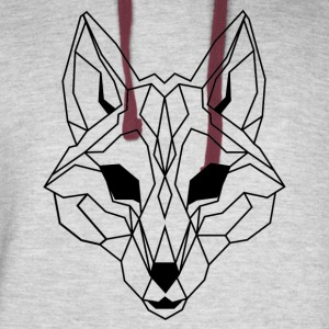 Lineart of a wolf / wolf transparent - Colorblock Hoodie