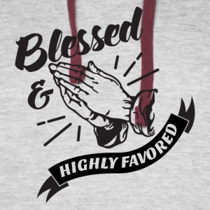 Blessed and Highly Favored (Flag w/ Black Letters) - Colorblock Hoodie