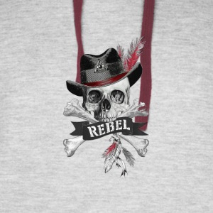 Rebel Tribal Gothic Skull - Cross bones Products - Colorblock Hoodie