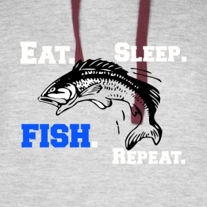 Funny Eat Sleep Fish Repeat Novelty Cool Apparel - Colorblock Hoodie