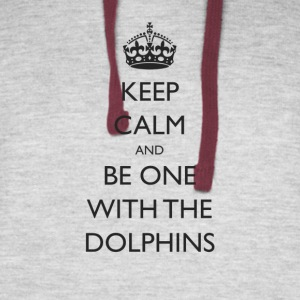 Keep Calm and Be One With The Dolphins Swim Tshirt - Colorblock Hoodie