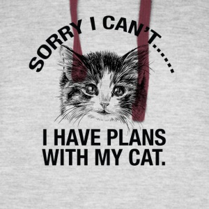 Sorry I cant..I Have Plans With My Cat tshirt - Colorblock Hoodie