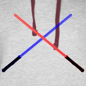 Blue and Red Lightsabers Clashing - Colorblock Hoodie
