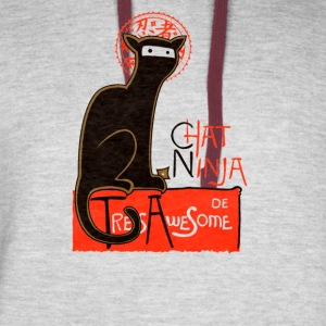 Chat ninja tres awesome - Colorblock Hoodie