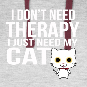 i dont need a therapy i just need my cat - Colorblock Hoodie