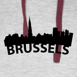 Arc Skyline Of Brussels Belgium - Colorblock Hoodie