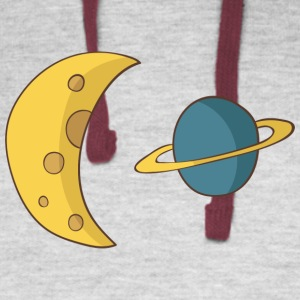 Moon and Planet - Colorblock Hoodie