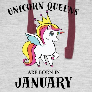 UNICORN QUEENS BORN IN JANUARY - Colorblock Hoodie