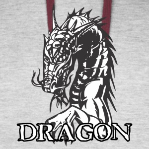 agry_looking_dragon_white - Colorblock Hoodie
