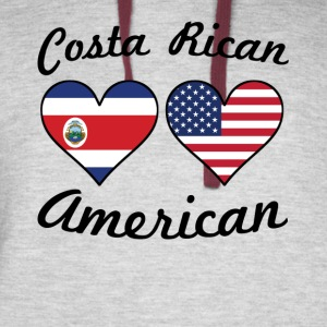 Costa Rican American Flag Hearts - Colorblock Hoodie