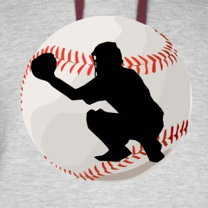Baseball Catcher Silhouette - Colorblock Hoodie