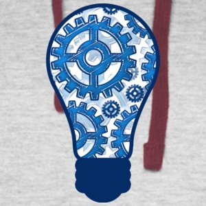 Blue gears light bulb T Shirt - Colorblock Hoodie