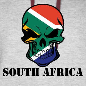 South African Flag Skull South Africa - Colorblock Hoodie