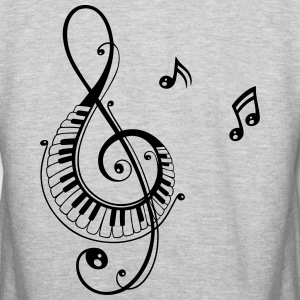 Clef with piano and music notes, i love music. - Colorblock Hoodie