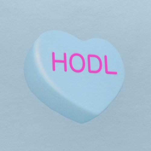 HODL - Hold on For Dear Life - Candy Heart - blue - Baby Bib