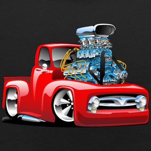 American Classic Hot Rod Pickup Truck Cartoon - Baby Bib