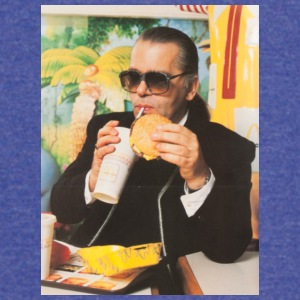 Karl Lagerfeld Eating a McDonald's Cheeseburger - Vintage Sport T-Shirt