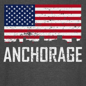 Anchorage Alaska Skyline American Flag Distressed - Vintage Sport T-Shirt