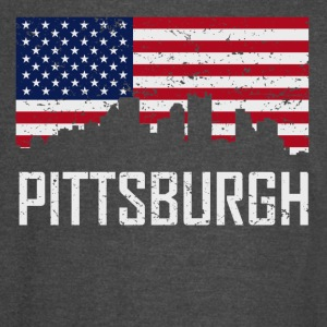 Pittsburgh Pennsylvania Skyline American Flag - Vintage Sport T-Shirt