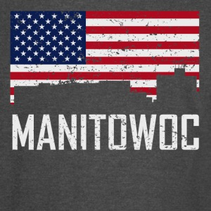 Manitowoc Wisconsin Skyline American Flag - Vintage Sport T-Shirt