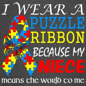 I Wear Puzzle Ribbon My Niece Means World To Me - Vintage Sport T-Shirt