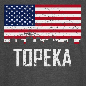 Topeka Kansas Skyline American Flag Distressed - Vintage Sport T-Shirt