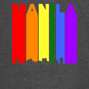 Manila Philippines Skyline Rainbow LGBT Gay Pride - Vintage Sport T-Shirt