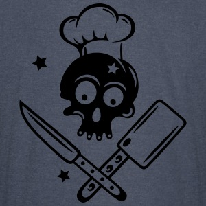 Skull with cooking hat, knives and stars. - Vintage Sport T-Shirt