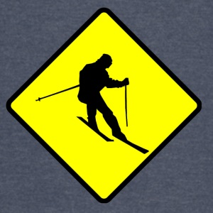 Skier Crossing Sign - Vintage Sport T-Shirt