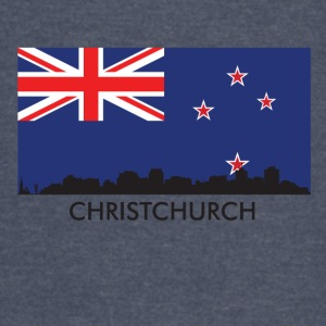 Christchurch Skyline New Zealand Flag - Vintage Sport T-Shirt
