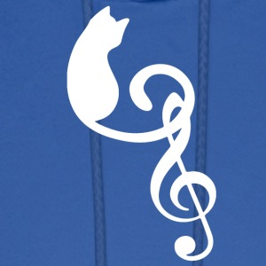 Silhouette Cat Treble Clef Note Music Lover - Men's Hoodie