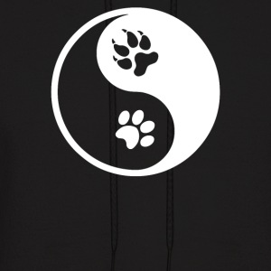 Cat and Dog Pawprint Yin and Yang - Men's Hoodie