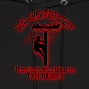 God Created Light - Funny Lineman Bible Design - Men's Hoodie