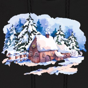 watercolor-landscape-winter-painting-house-trees - Men's Hoodie