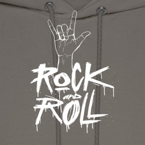 Rock and Roll Hand (White) - Men's Hoodie