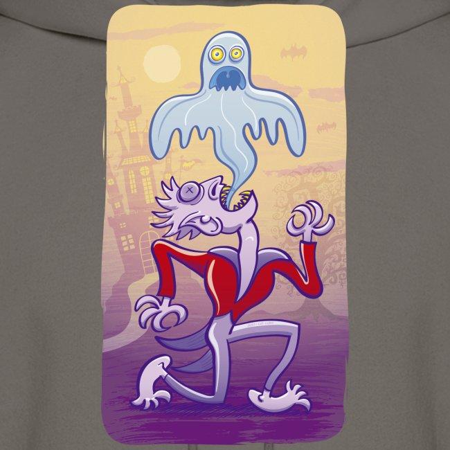 Horrific vampire expelling spooky ghost