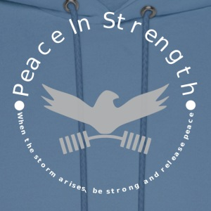 Peace_In_Strength_Grey_whiteLetter - Men's Hoodie